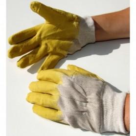 WerkHandschoen latex  met open rug (geel)