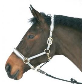 Halster Paard Luxe nylon/leer Zwart 4 - Extra full
