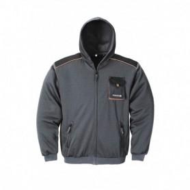 Sweater met capuchon 3814/6310 Zwart/Grijs/oranje XXXL