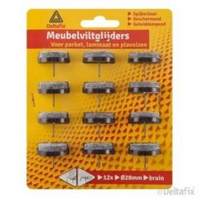MEUBELVILTGL. NAGEL 12 ST. bruin 28 mm