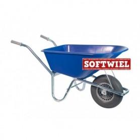 Kruiwagen HUMMER PP 100L. Blauw + soft wiel