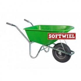Kruiwagen HUMMER PP 100L. Lime + soft wiel