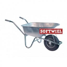 Kruiwagen HUMMER 85L. verzinkt + soft wiel