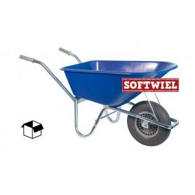 Kruiwagen HUMMER PP 100L. Blauw + soft wiel Doos