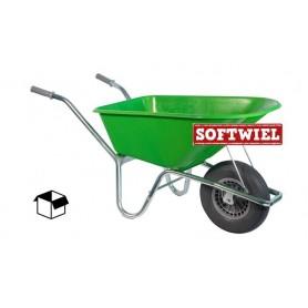 Kruiwagen HUMMER PP 100L. Lime + soft wiel Doos