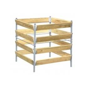 Compostvat hout/metaal 90 x 90 x 90 cm