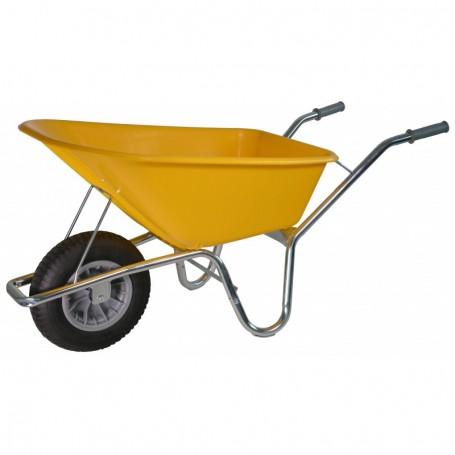 Kruiwagen PE Bouwkruiwagen Geel 100 liter