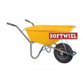 Bouw kruiwagen PE 85L. Geel Foamwiel