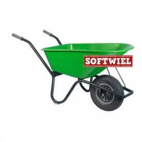 Tuin kruiwagen gecoat frame 100L. Lime groen Foamwiel