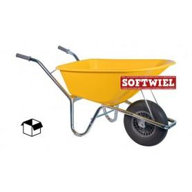Bouw kruiwagen PE 85L. Geel Foamwiel DOOS