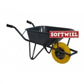 Bouw kruiwagen staal 85L. Ovale buis verzwaard Foamwiel