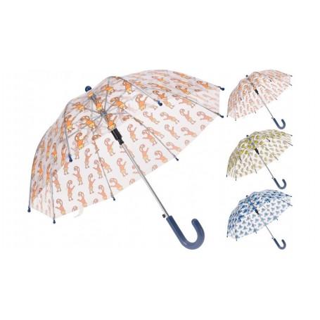 Kinder paraplu transparant 3 assorti