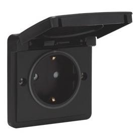 Niko Hydro WD Stopcontact insteek WCD 1V + RA Zwart