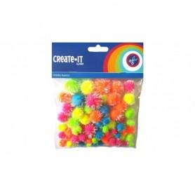 Create-It Pompoms glitter neon mix 75 stuks