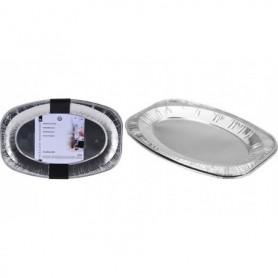 Aluminium serveerschaal 42 5x28 5cm 2 stuks